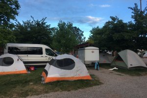Moab Rim Campark Tent Sites tents and cars