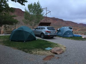 Moab Rim Campark Tent Sites tent and car