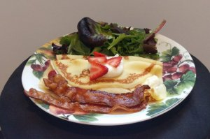 Haven by the Sea Breakfast crepes strawberries bacon salad