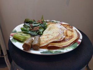 Haven by the Sea Breakfast crepes sausage salad