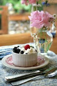 Fruit and whipped cream in a cup