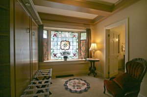 Sitting area with stained glass window