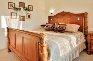 solid oak king bed in the Cherub Room