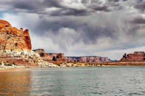 stormy sky over lake powell