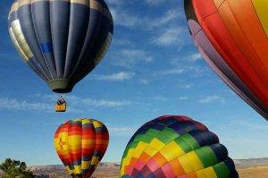 hot air balloons floating