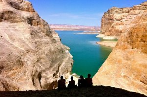 LGBTQ friends enjoying scenic Lake Powell
