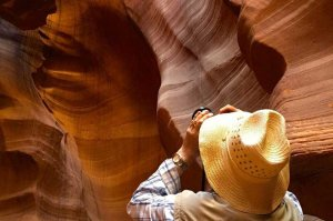 sunlight through antelope canyon