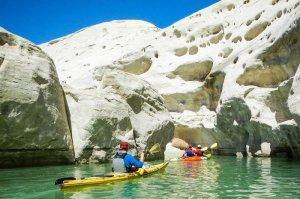 tourists paddling on kayaks