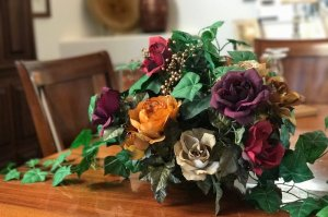close up of dining room centerpiece