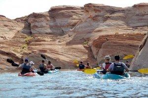 tourists kayaking