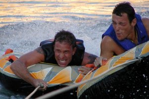 Gay friends from LA tubing on Lake Powell