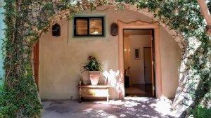 Doorway to adobe cottage