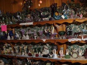 Vases on shelves
