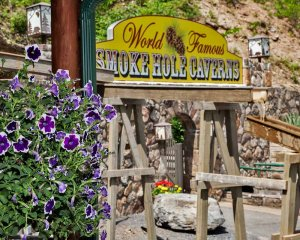 World Famous Smoke Hole Caverns sign