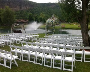 Chairs set up for guests