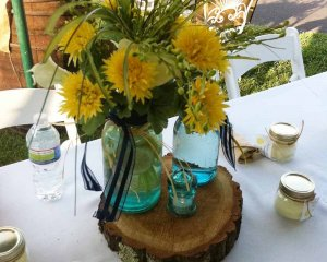 table with flower arrangement