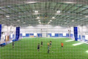 Shooters Soccer Club Facility interior field from above through the net