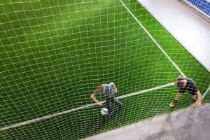 Shooters Soccer Club Facility field from above two boys playing