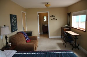 Another overview of room showing bed, sofa, desk and door to washroom