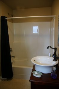 Bath tub with shower and large sink