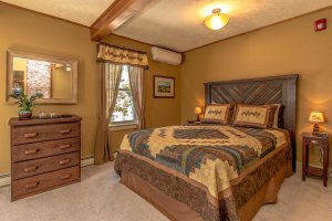 A bed and dresser