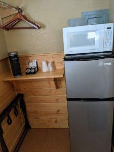 Fridge freezer with microwave