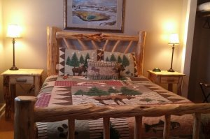 Queen Bed with Quilt