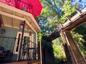 Porch with umbrella shade above