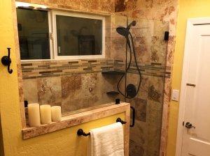 Marble shower in bathroom