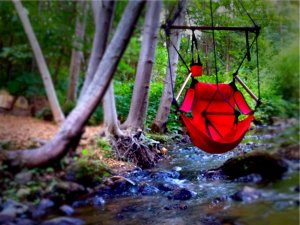 Gold Creek Inn swing over river