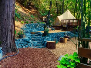 Stone steps leading to tent