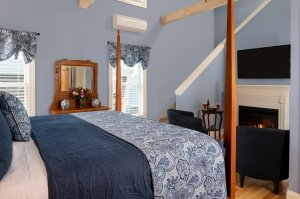 Room with blue bedding