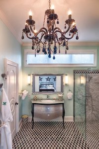 chandelier, sink, and shower
