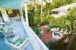 covered balcony overlooking patio