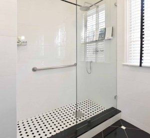 Shower with grab bar