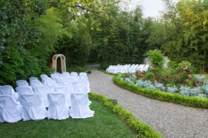 outdoor chairs and altar