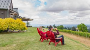 Roya Vineyard and Cottages man and woman sitting drinking wine