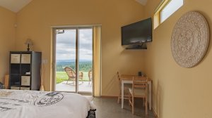 Roya Vineyard and Cottages Pinot Noir Cottage table tv door