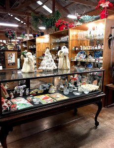 Christmas antiques in display case