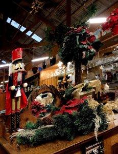 Christmas wreath and nutcracker