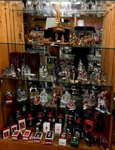 Christmas antiques on shelves