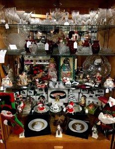 Christmas antiques on shelves