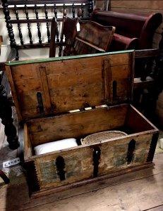 wooden trunk open