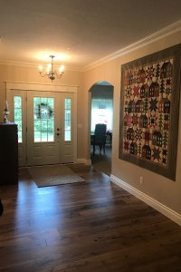entryway with quilt