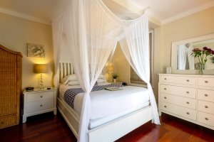 queen bed with canopy next to white dresser