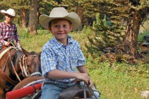 Cute little boys on a horse