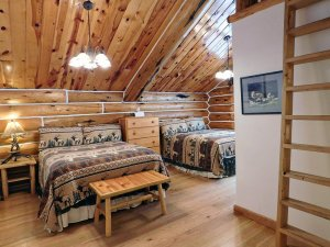 double queen beds with log cabin walls