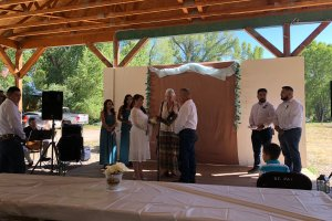 Wedding ceremony under pavillion