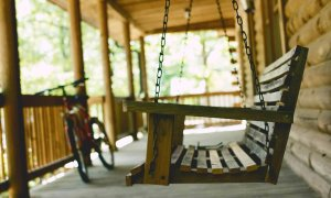 Wooden porch swing