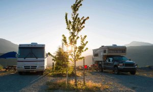 Two RVs parked